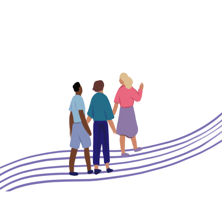 Illustration of people walking on a path
