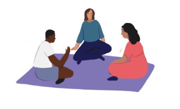 Illustration of people sitting on a blanket